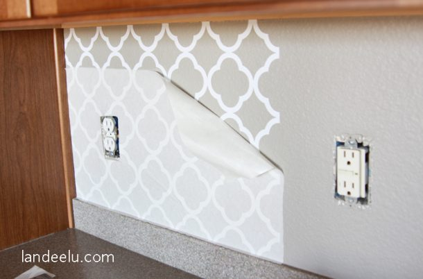 Easy Vinyl Backsplash For The Kitchen There S A Video On How To Apply It Too