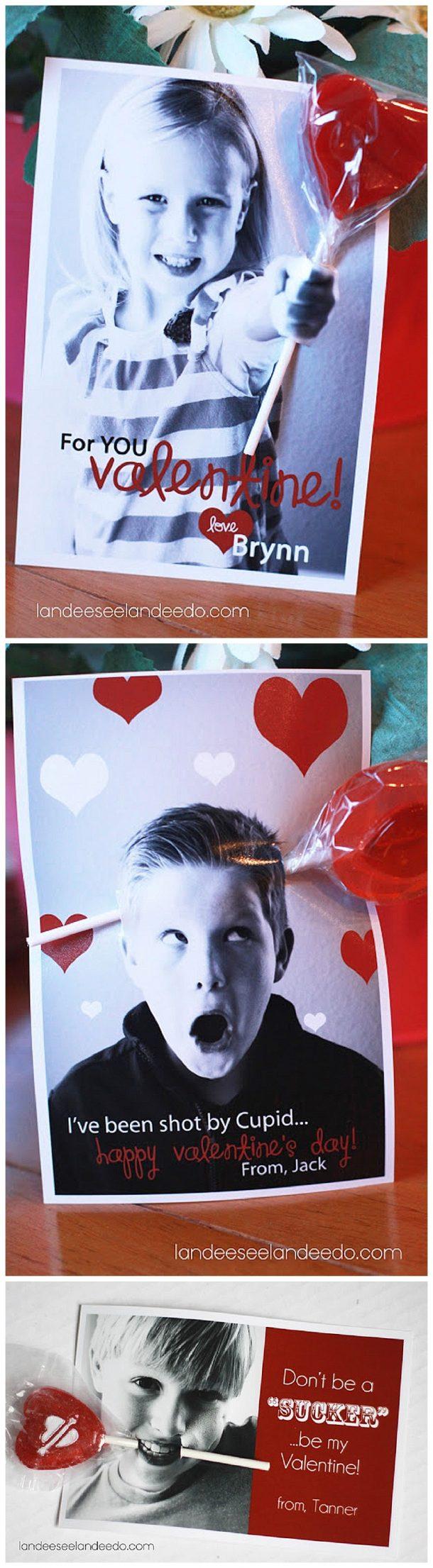 Printable Valentines - cute sucker holder