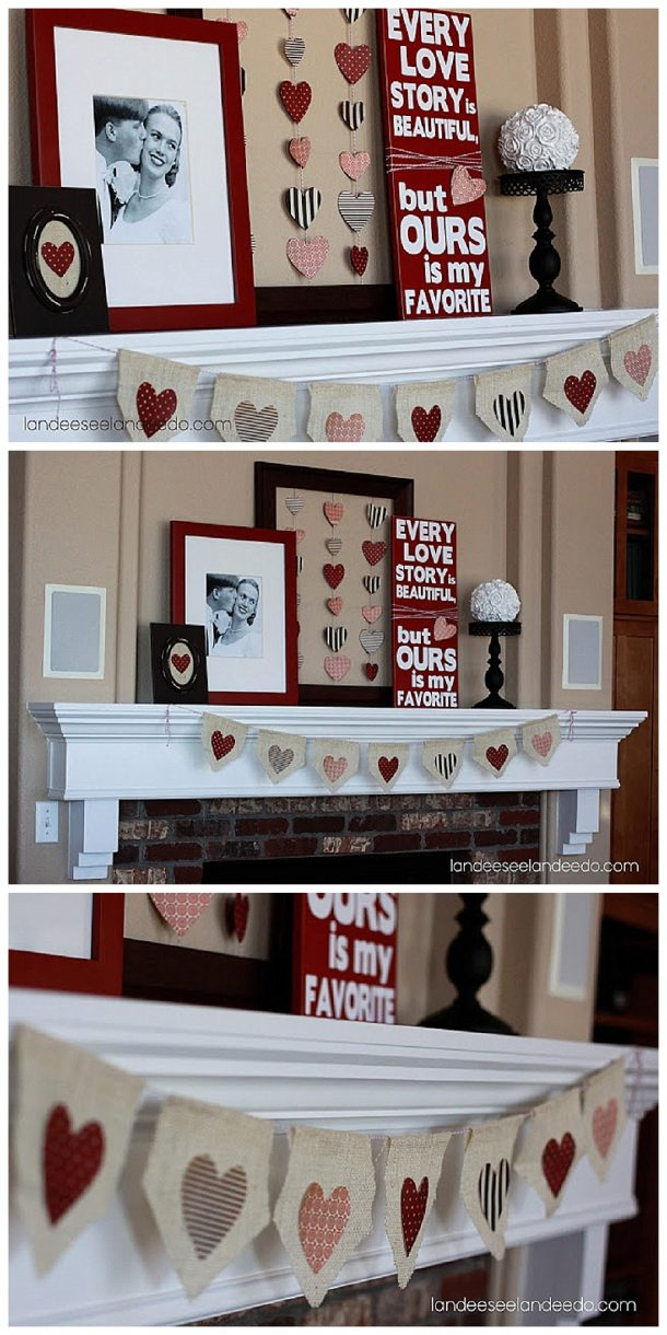 Super Cute Valentine's Day Mantel Decoration Ideas with DIY Tutorials! Burlap and Hearts Rustic Theme Inspiration