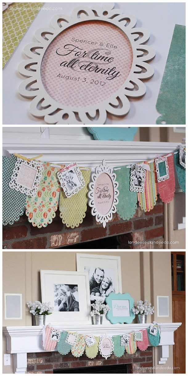 DIY Wedding Shower Banner and Mantel Tutorial - Cute decorations that are easy to make and set up!