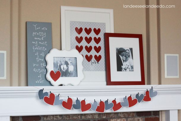 valentine 39 s day mantel decor and printable