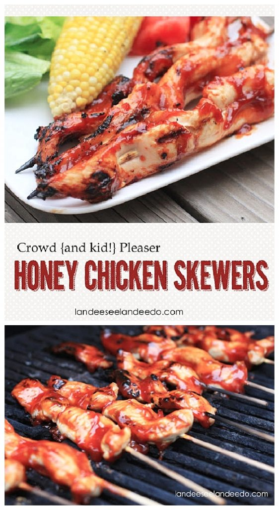The BEST Honey Chicken Skewers Recipe - Easy to throw on the grill and the entire crowd will love these.  Even the picky kids!