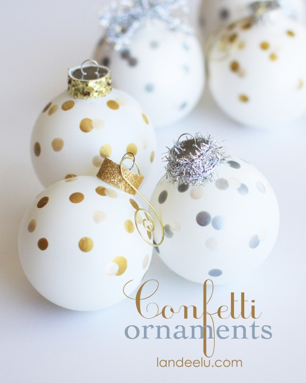These are so easy and oh so darn festive, no? Easy DIY Confetti Christmas Tree Ornaments Tutorial | Landeelu