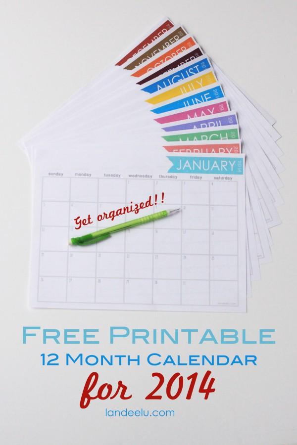 Free 12 Month Printable Calendar 2014