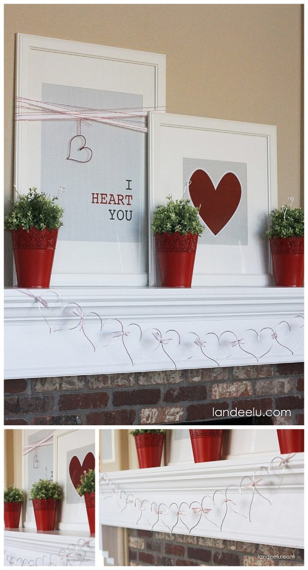 I Heart You!  DIY Valentine's Day Mantel - SO pretty and EASY!