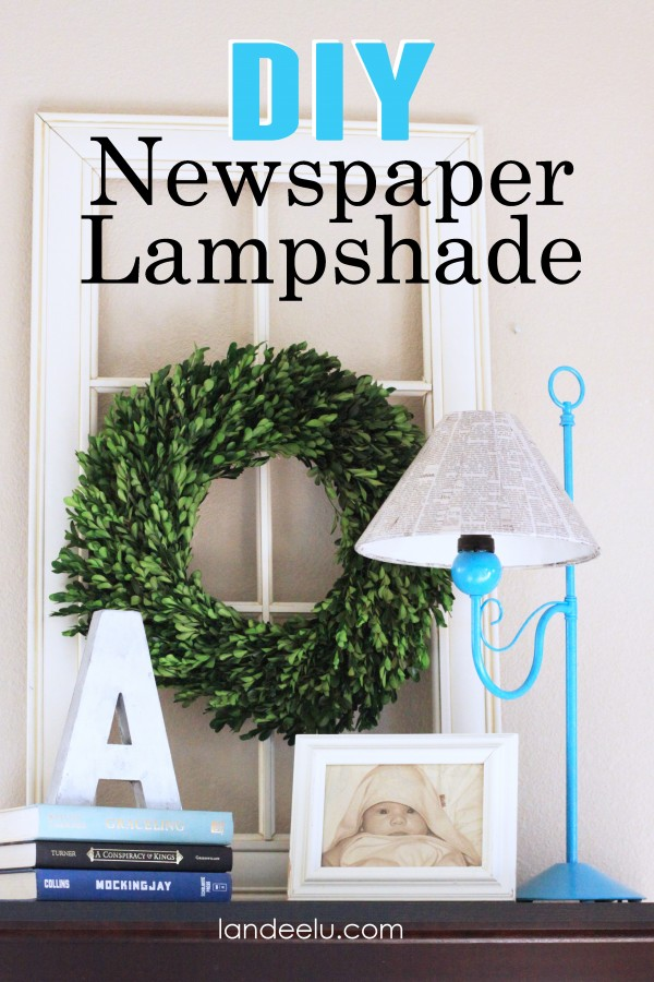 DIY Newspaper Lampshade Makeover | landeelu.com