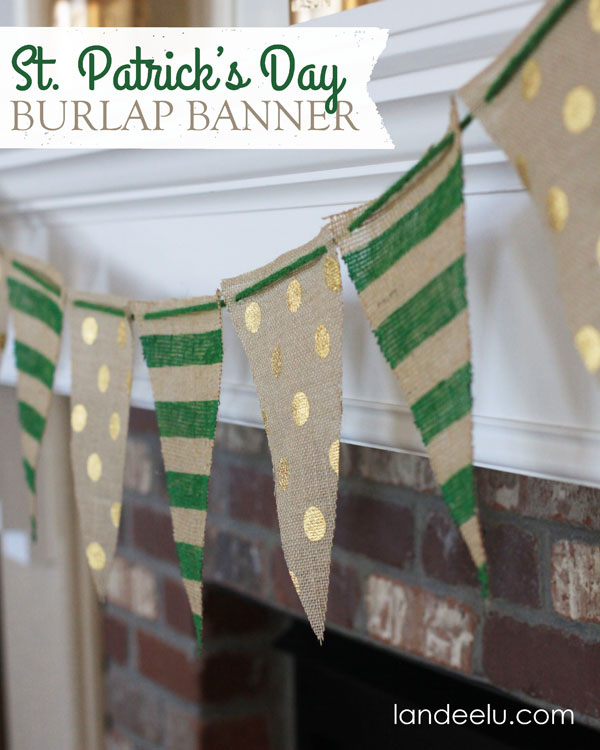 St Patricks Day Burlap Banner