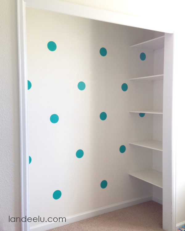 Closet Makeover-- cute polka dots!