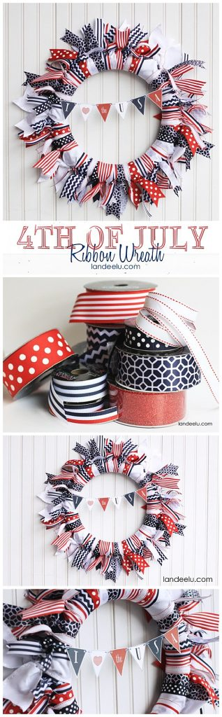 Easy DIY 4th of July Ribbon Wreath with cute and free printable mini bunting!