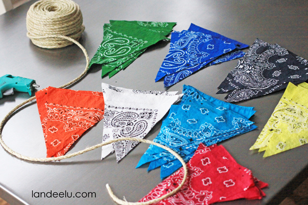 Easy DIY Bandana Party Banner Tutorial from landeelu.com