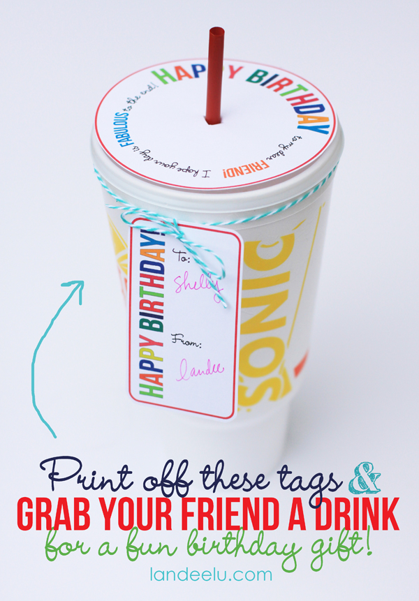 Printable Birthday Gift Idea: Drink Topper and Tag from landeelu.com