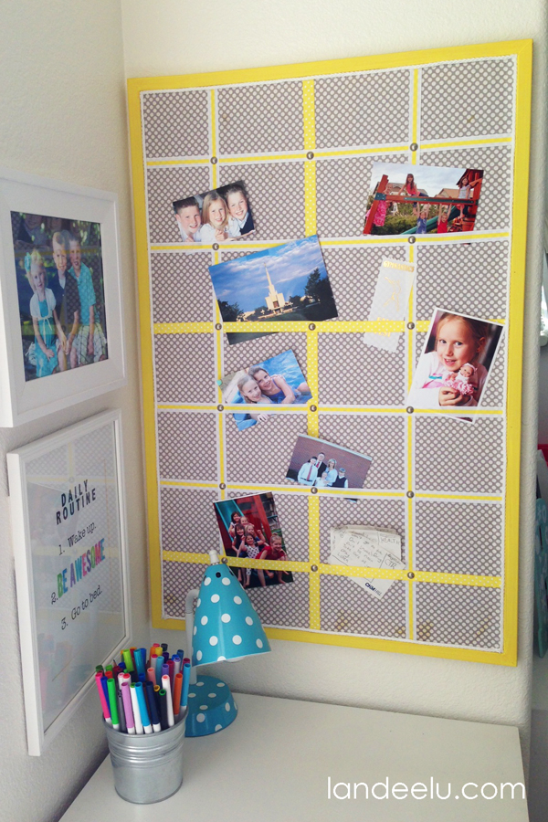 DIY Bulletin Board Makeover from landeelu.com  A great upcycling project!