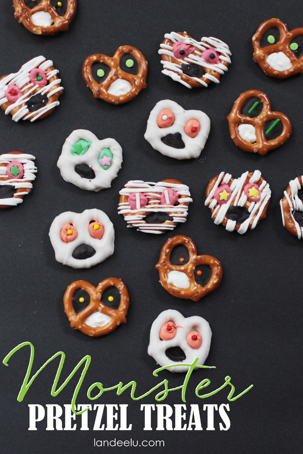 Kids food craft idea monster pretzels for Fun halloween treats to make with toddlers