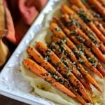 Chimichurri Carrots with Parmesan Parsnip Purée