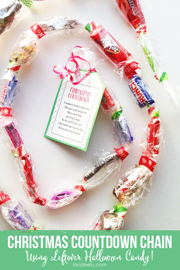 Easy and fun!  Come grab your free printable and use the leftover Halloween candy.  Christmas Countdown Candy Chain with Printable! | Landee