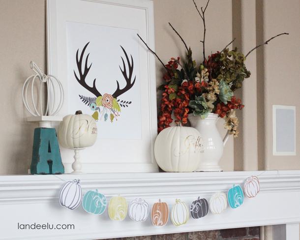 Fresh Fall Mantel Idea | landeelu.com Love this color scheme for fall!