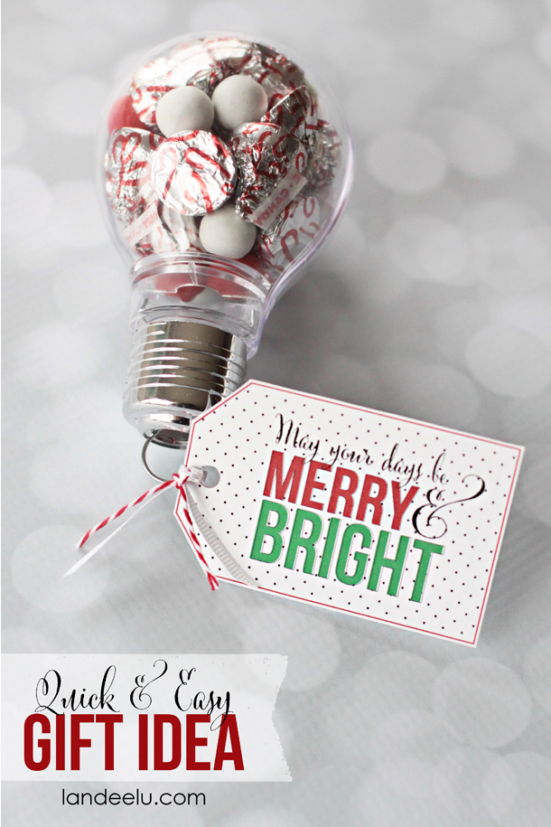 Merry and bright gift idea with printable tag for Gift with purchase ideas