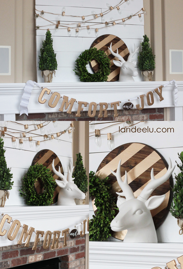 Gold, White and Warm Christmas Mantel | landeelu.com So pretty!
