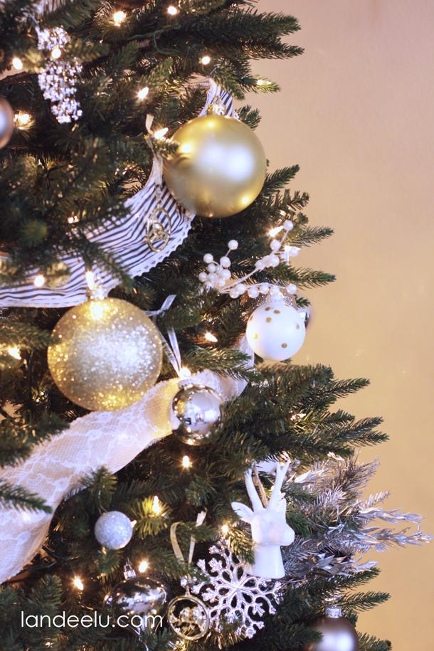 metallic neutral christmas tree decorations. Black Bedroom Furniture Sets. Home Design Ideas