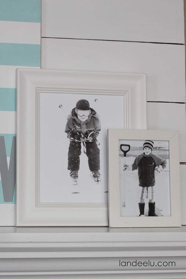 Simple Winter Mantel Decor    landeelu.com  Use wintery photos of your kids and family to easily create a simple winter mantel!