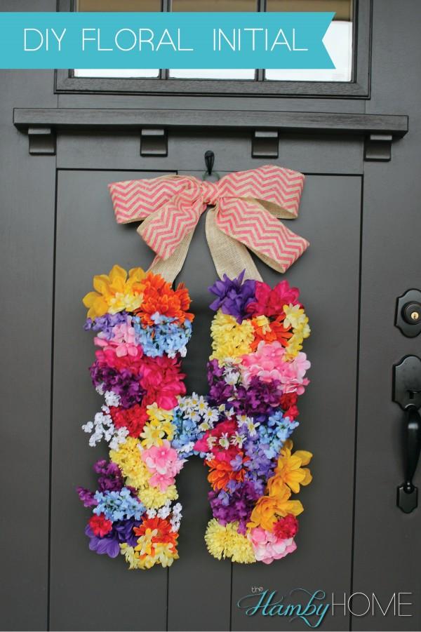 DIY Spring Floral Initial Wreath Tutorial | Landeelu