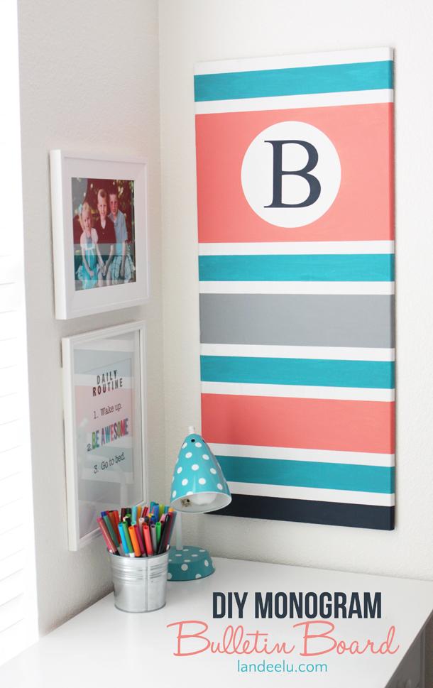 DIY Monogram Bulletin Board | landeelu.com Such an easy way to customize a boring bulletin board for any space!
