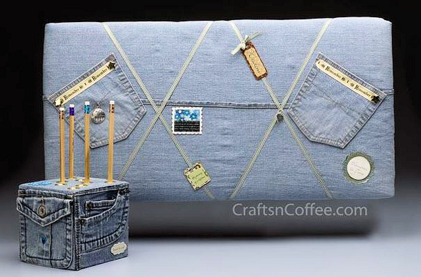 Crafts n Coffee denim bulletin board and pencil cube DIY