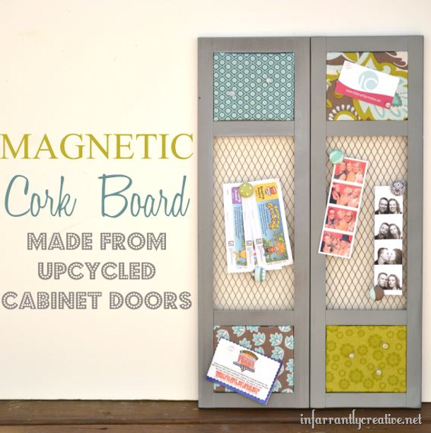 infarrantly creative upcycled cabinet doors as magnetic bulletin board