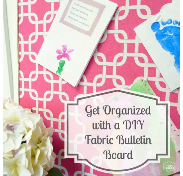 the happy HOUSIE Simple Fabric covered bulletin board tutorial