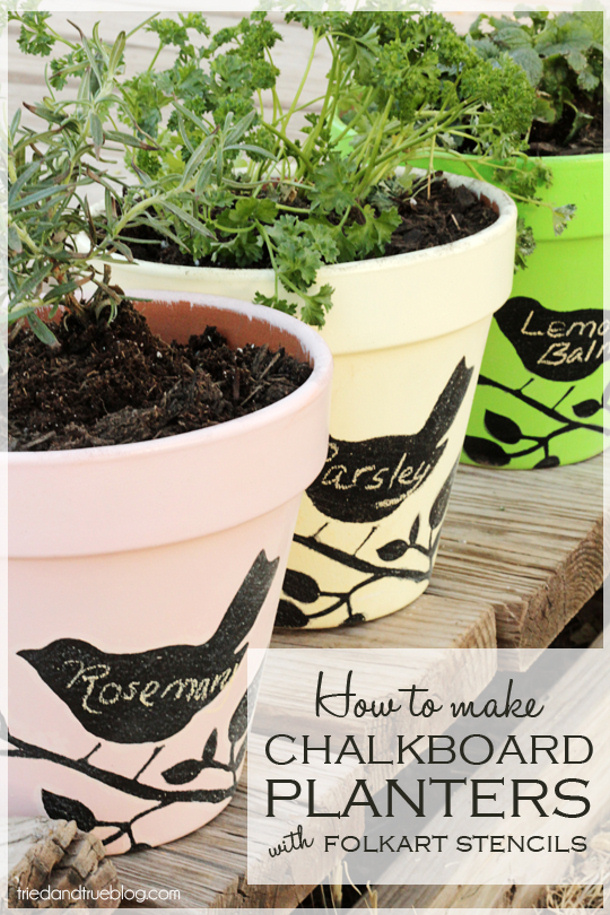 Chalkboard planters with folkart stencils by TRIED AND TRUE roundup at landeelu dot com