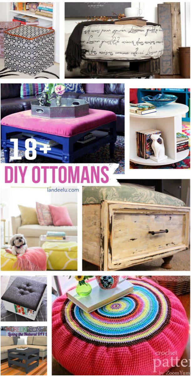 DIY Ottomans    landeelu.com   A great roundup of awesome DIY ottoman ideas!