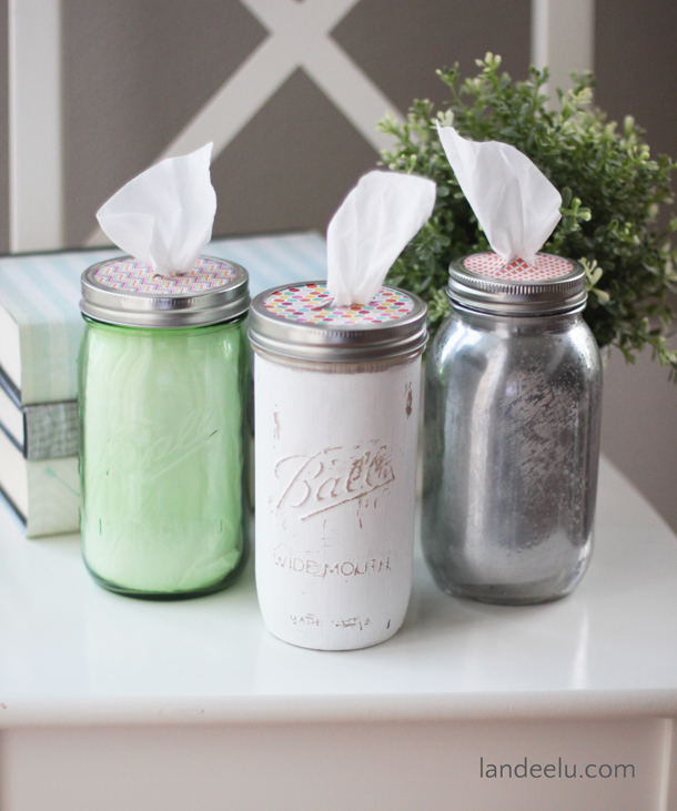 Mason Jar Tissue Holders | landeelu.com Such a cute and easy way to have tissues in any room! And you can decorate the mason jar however you want to fit into any decor!