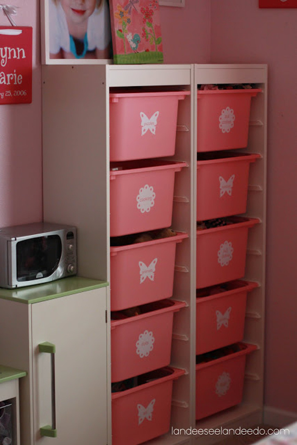 Ikea Trofast Storage unit and Labeled Bins via Landeelu