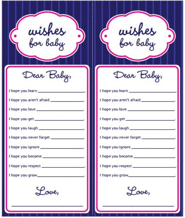 wishes for baby printables via popsugar