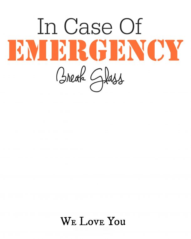 photo regarding In Case of Emergency Break Glass Printable identified as Dollars Reward Concept