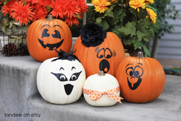 Vinyl pumpkin faces via landee on etsy