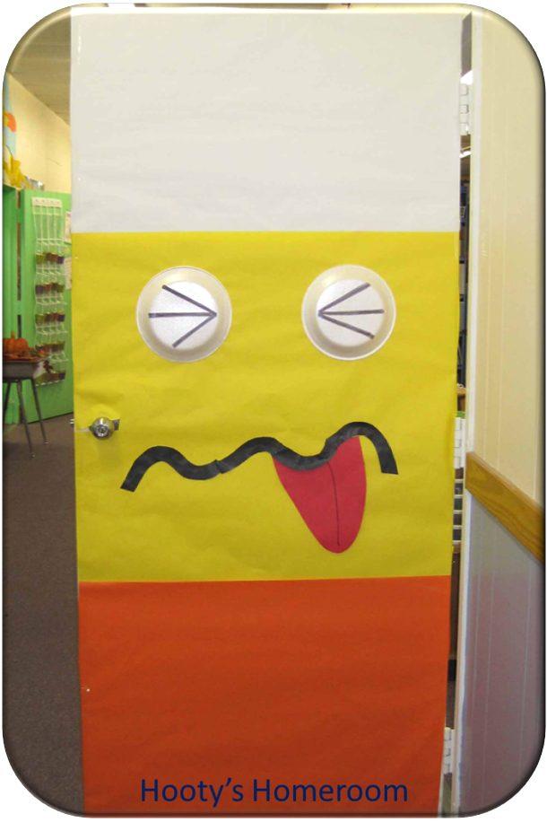 Candy Corn Door via Hootys Homeroom & Halloween Door Decor Ideas | landeelu.com pezcame.com