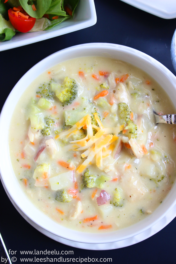 Cheesy Chicken and Vegetable Soup | landeelu.com