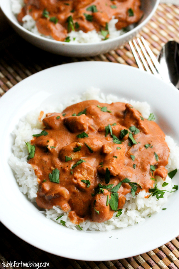 Chicken Tikka Masala Crockpot Recipe via Table for Two