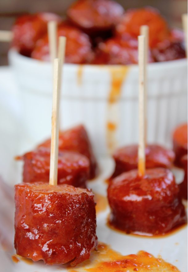 Crock Pot Spicy Barbecue Kielbasa Recipe via Tammilee Tips