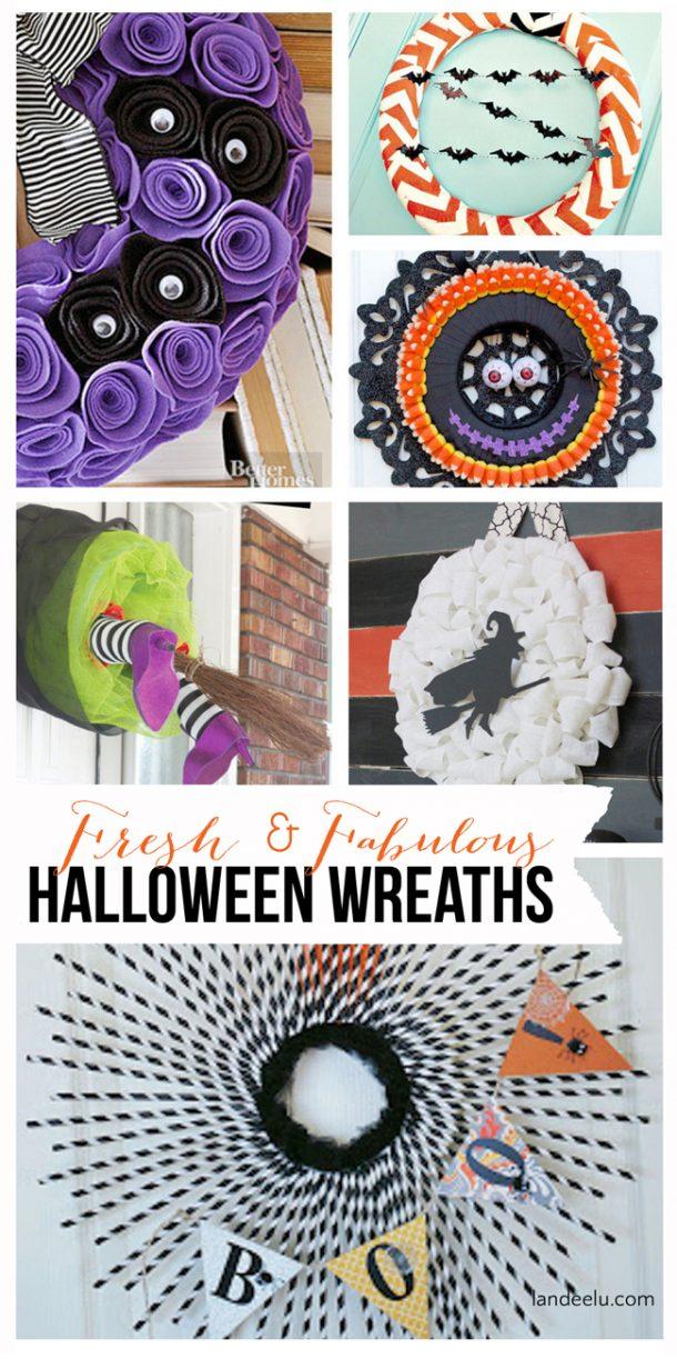 Fresh & Fabulous Halloween Wreath Ideas | landeelu.com So many fun wreath ideas for Halloween!