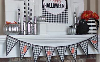 Halloween Mantel... cute gingham check printables! Love the black and white with orange too! landeelu.com