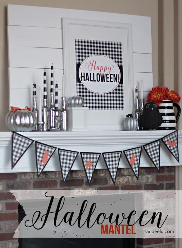 Halloween mantel black and white