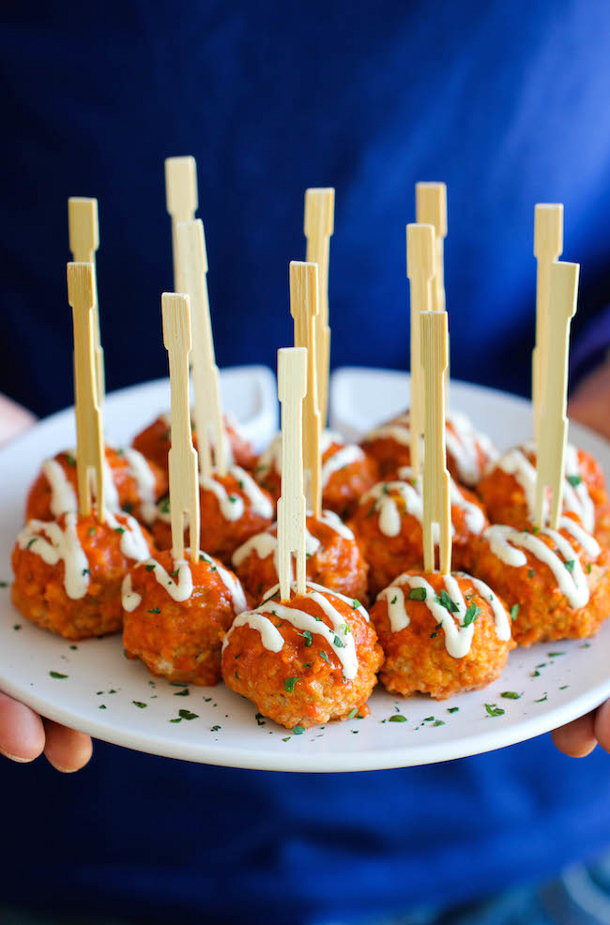 Slow Cooker Buffalo Chicken Meatballs recipe via Damn Delicious