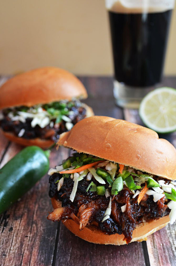 Sweet and Spicy Pulled Pork with Honey Jalapeno Lime Slaw Crockpot Recipe via HOST THE TOAST