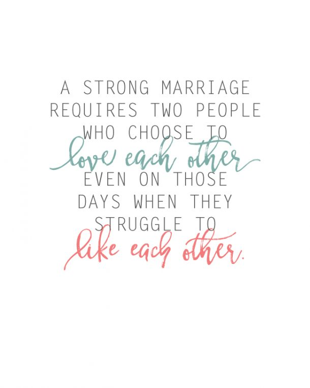 What Makes a Strong Marriage? This is so true! Free printable.