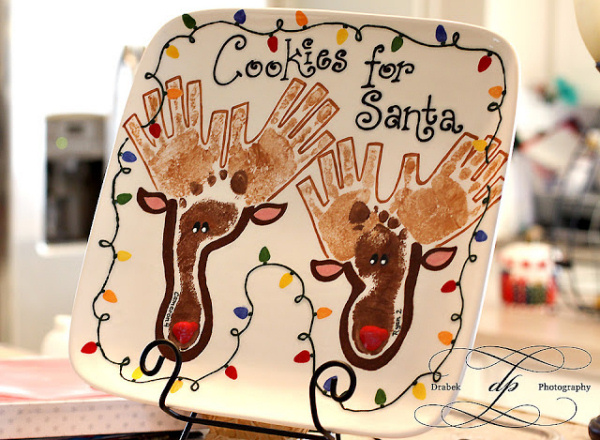 Cookies for Santa Reindeer Hands and Feet Plate drabek photography