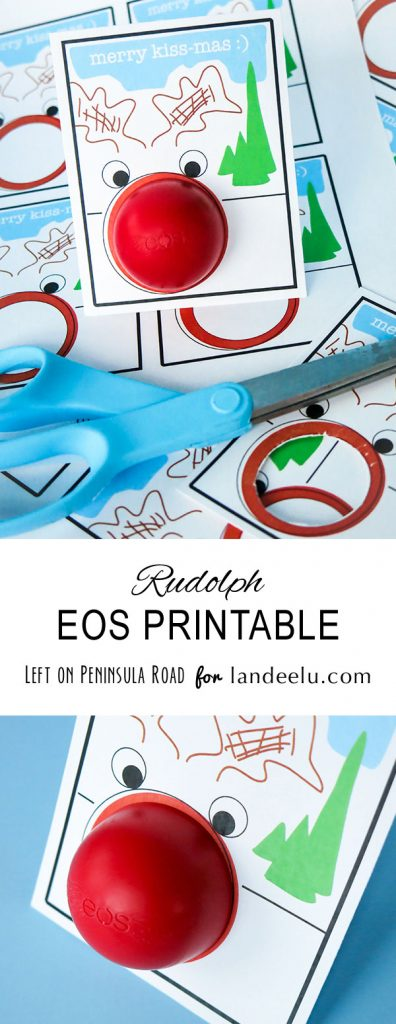 "Rudolph ""Merry Kiss-Mas"" Free Printable EOS Lip Balm Holder Christmas Gift Card   Landeelu"