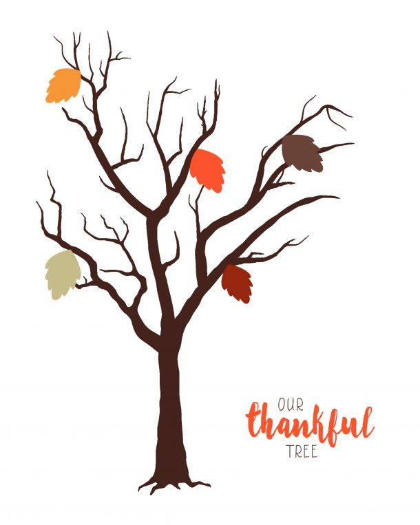 Selective image with thankful tree printable
