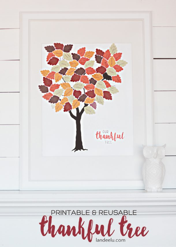 Printable and Reusable Fall Thankful Tree | Landeelu  | Print the tree and the leaves and have everyone write what they are thankful for! Such a cute way to display your gratitude!